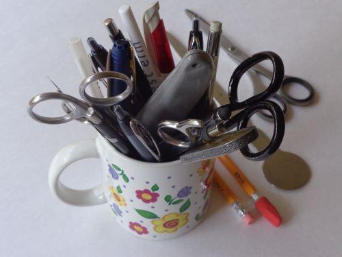 pens scissors letter opener