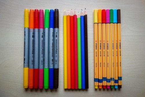 pens  colored pencils  felt tip pens