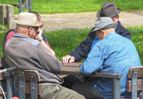 pensioners  men  domino game