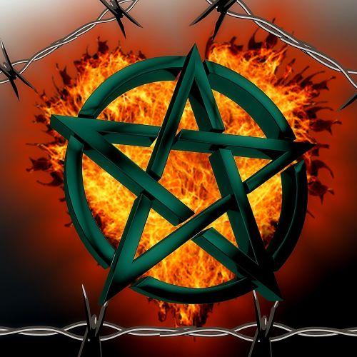 pentagram background fire