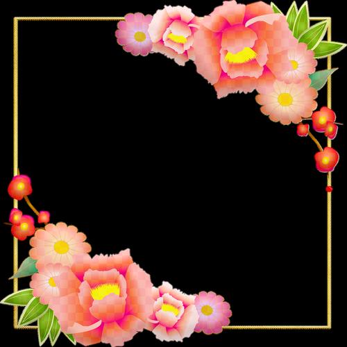 peony frame  blossom gold foil  flower blossom