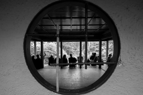 people black and white circle
