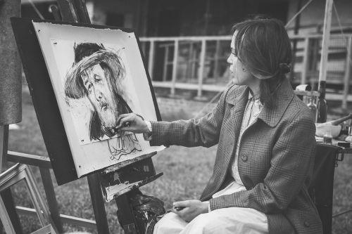 žmonės,moteris,juoda ir balta,medžio anglis,dažymas,piešimas,menas,talentas
