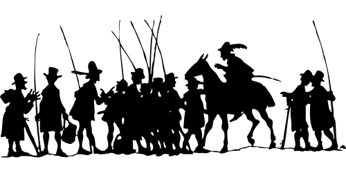 people silhouette horse