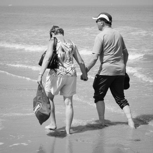 people  hiking  beach