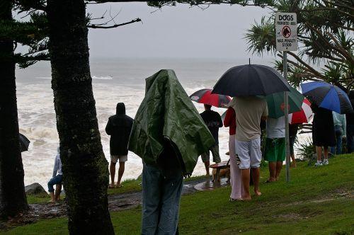 people rain watching