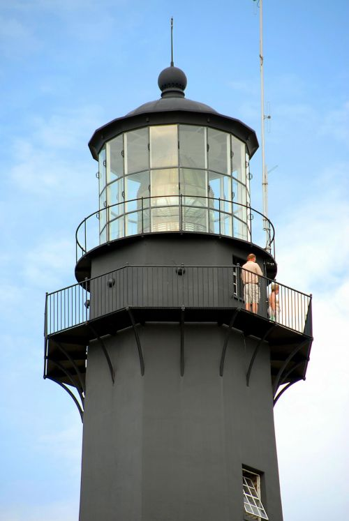 People On Top Of Lighthouse