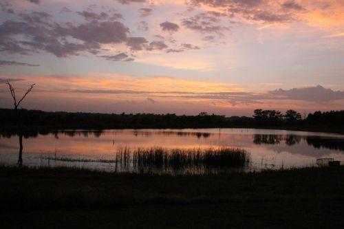 ežeras, saulėlydis, kraštovaizdis, šalies pusėje, puikus saulėlydis prie ežero