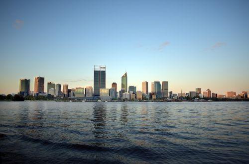 perth,Vakarų,australia,wa,vanduo,miestas,saulėlydis,gulbė,panorama,upė