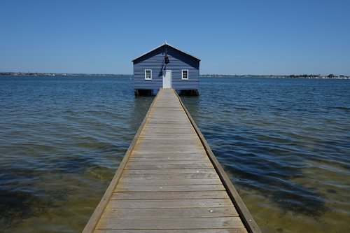 perth  boat house  blue boat house