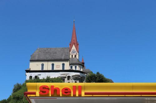 petrol stations church shield