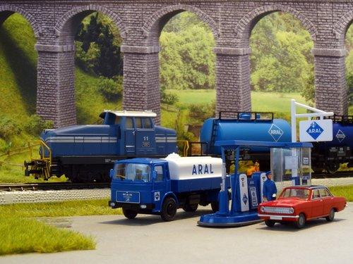 petrol stations  model cars  model train