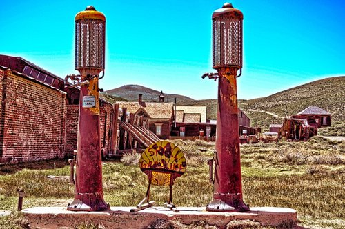 petrol stations  old  rusty