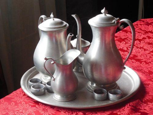 pewter teas service beverage