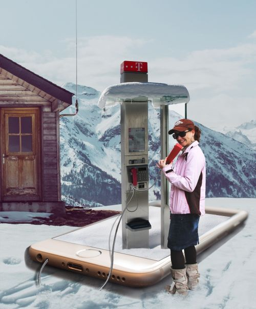 phone booth in the snow image manipulation phone