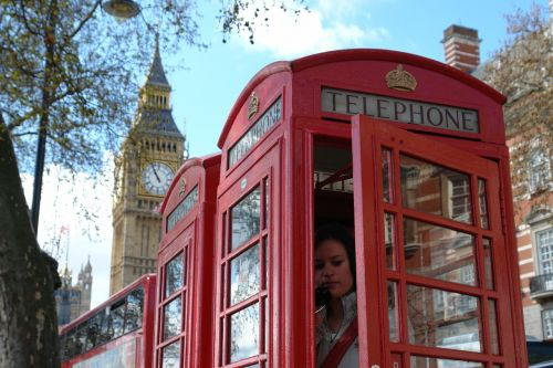 phone box phoning red