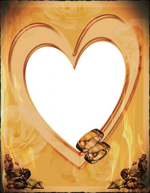 nuotraukų rėmelis,nuotraukų rėmelis,širdis,liepsna,meilė,liepsna meilė,žiedai,auksas,Vestuvės,įsitraukimas,valentine,santykiai,pora,atvirukas,rožės,senas,retro,Ugnis,deginti,karštas,šviesus
