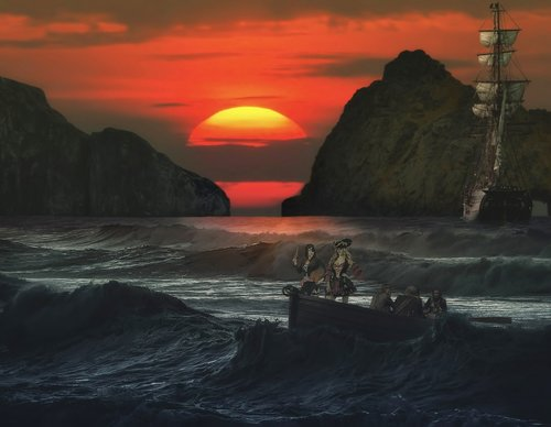 photo montage  pirates of the  sunset