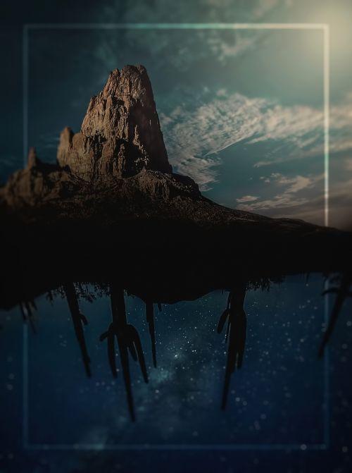 photomontage whale desert