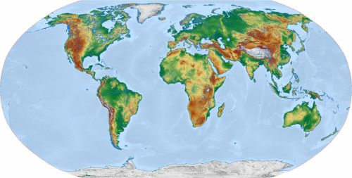 Physical World Map Robinson