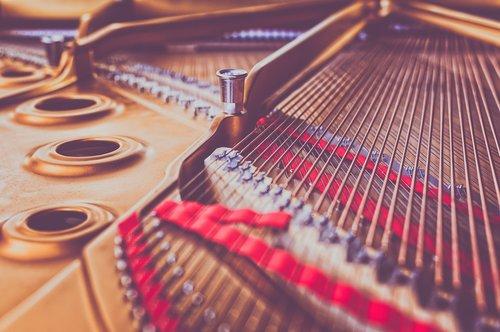piano  strings  close up