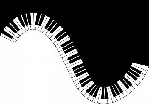 Piano Keyboard Waves Card