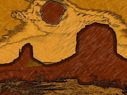Arizona, paminklas & nbsp, slėnis, dykuma, meno, dažytos, tapybos, modernus & nbsp, menas, picasso, ruda, geltona, Laisvas, viešasis & nbsp, domenas, picasso arizona
