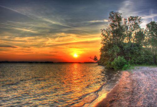 saulėlydis, ežeras, vanduo, kraštovaizdis, peizažas, Viskonsinas, vaizdingas saulėlydis per castlerock