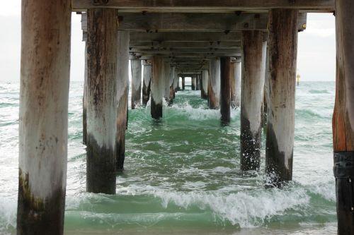 prieplauka,pagal prieplauką,paplūdimio prieplauka,bangos,papludimys,medinis prieplauka