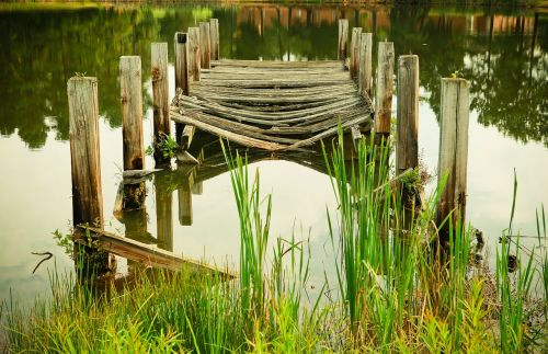 pier wooden planks shore