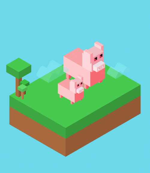 pig isometric island