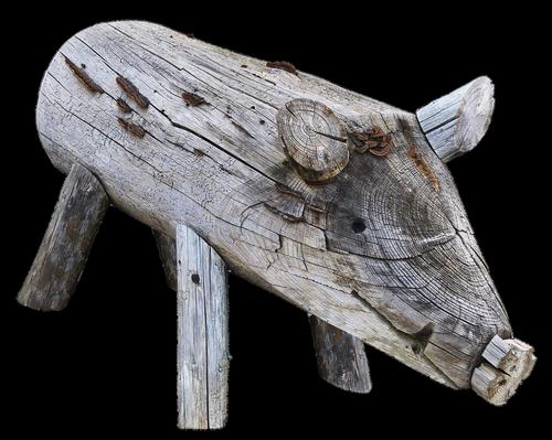 pig  boar  holzfigur