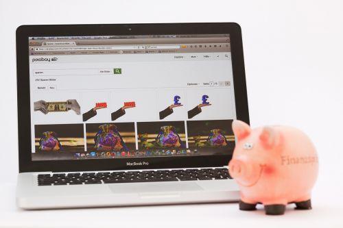 piggy bank save laptop