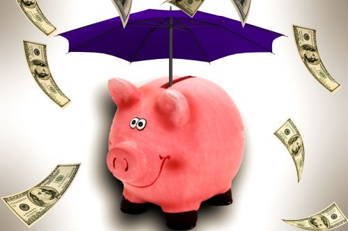 piggy bank umbrella money rain