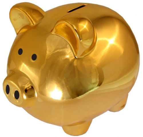 piggy bank golden-saving sham save