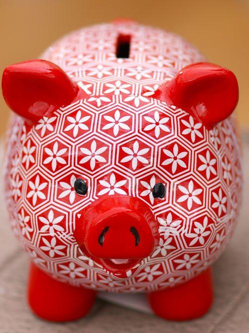piggy bank red white