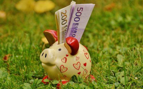 piggy bank money dollar bill