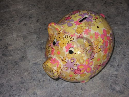 piggy bank colorful retired