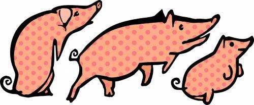 kiaulės, polka & nbsp, taškų, gyvūnai, kiaulės, vidaus, ūkininkavimas, bandas, žinduoliai, vintage, rožinis, dėmės, pluta, mielas, žavinga, trys, trio, kiaulės