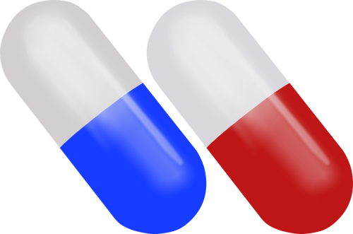 pill pill red and blue drug