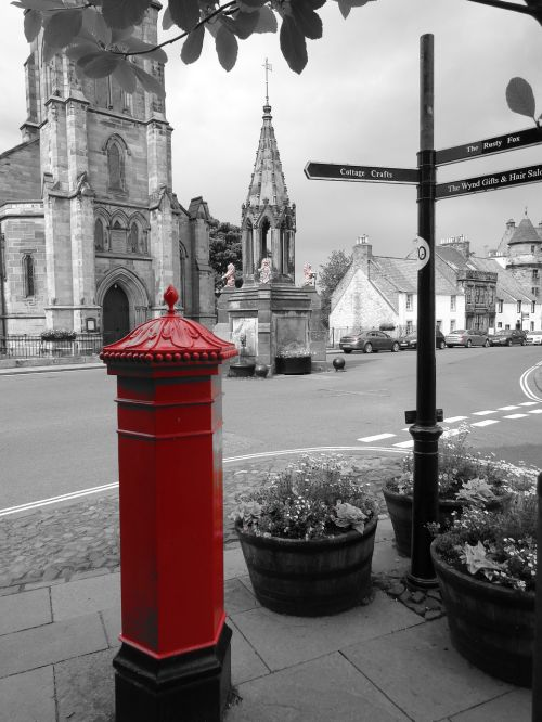 pillar box signpost street sign