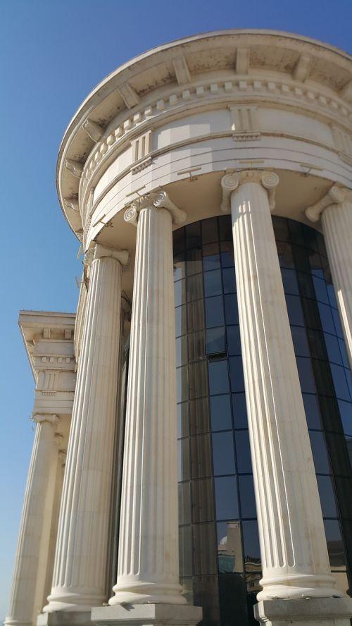 pillars building new old