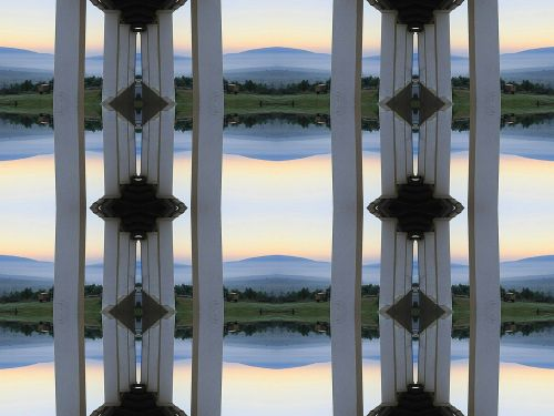 Pillars And Landscape Abstract
