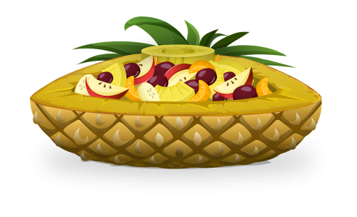 pineapple boat fruits salads