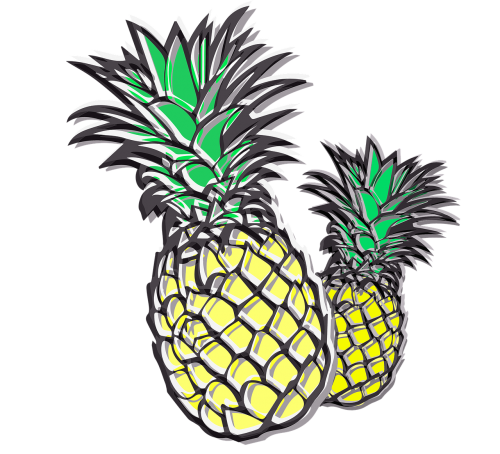 pineapples fruits yellow