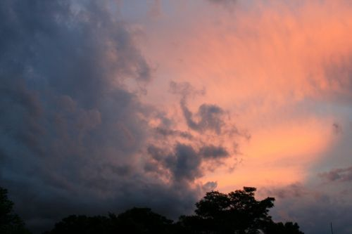 Pink And Dark Patches In The Sky