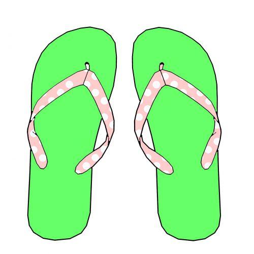 Pink & Green Flip Flops