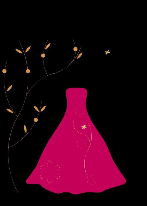 suknelė, suknelė, ilgai, kamuolys & nbsp, suknelė, rožinis, karštas, šviesus, vakare & nbsp, suknelė, Iliustracijos, iliustracija, Scrapbooking, rausvos suknelės paveiksliukas