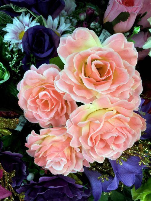 Pink Fake Rose Flower In Blossom