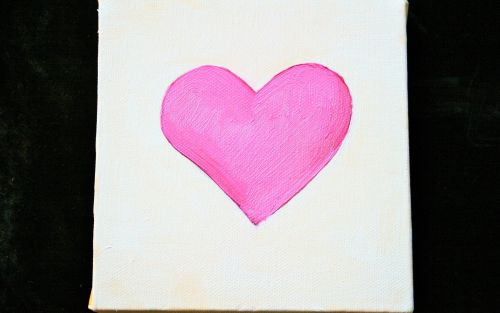 Pink Heart In Oils On Canvas